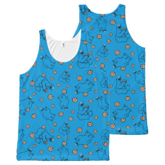 Cookie Monster and Cookies Blue Pattern All-Over Print Tank Top