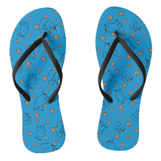 Cookie Monster and Cookies Blue Pattern Flip Flops