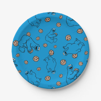 Cookie Monster and Cookies Blue Pattern Paper Plate