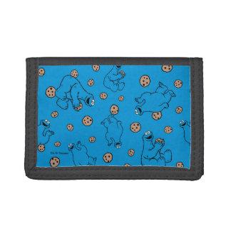 Cookie Monster and Cookies Blue Pattern Tri-fold Wallet