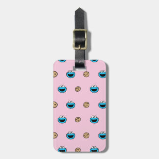 Cookie Monster and Cookies Pink Pattern Luggage Tag