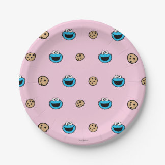 Cookie Monster and Cookies Pink Pattern Paper Plate
