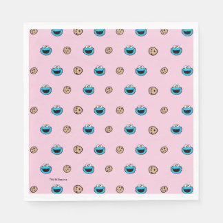 Cookie Monster and Cookies Pink Pattern Paper Serviettes