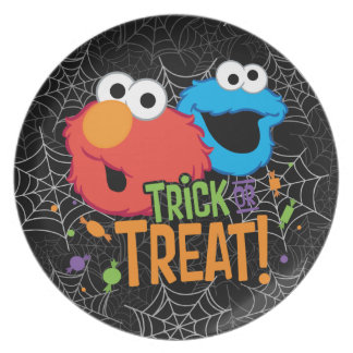 Cookie Monster and Elmo - Trick or Treat Plate