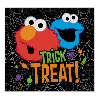 Cookie Monster and Elmo - Trick or Treat Poster