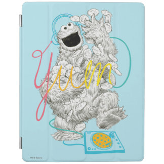 Cookie Monster B&W Sketch Drawing iPad Cover