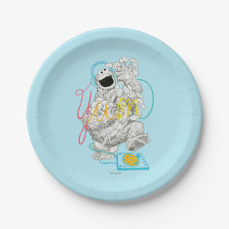 Cookie Monster B&W Sketch Drawing Paper Plate