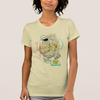 Cookie Monster B&W Sketch Drawing T-Shirt
