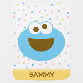 Cookie Monster Baby Big Face | Add Your Name Baby Blanket