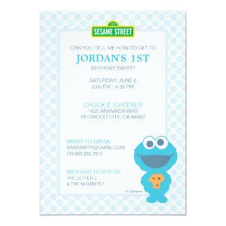 Cookie Monster Baby Birthday 13 Cm X 18 Cm Invitation Card