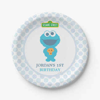 Cookie Monster Baby Birthday 7 Inch Paper Plate