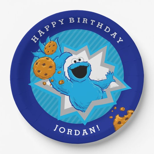 Cookie Monster Birthday Paper Plate