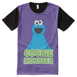 Cookie Monster Character Art All-Over Print T-Shirt