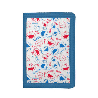 Cookie Monster & Elmo | Red & Blue Pattern Tri-fold Wallet