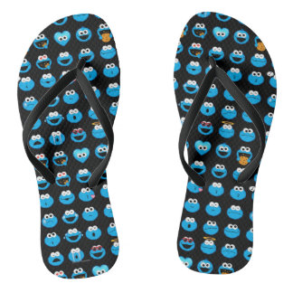 Cookie Monster Emoji Pattern Flip Flops