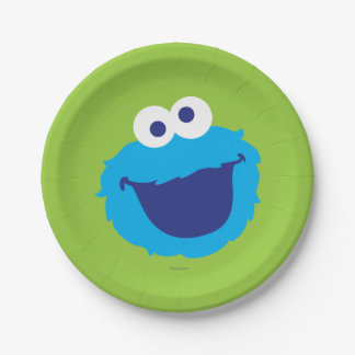 Cookie Monster Face 7 Inch Paper Plate