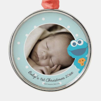 Cookie Monster | First Christmas - Add Your Name Silver-Colored Round Decoration