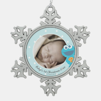 Cookie Monster | First Christmas - Add Your Name Snowflake Pewter Christmas Ornament