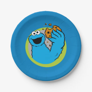 Cookie Monster Image 7 Inch Paper Plate