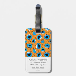 Cookie Monster on Cookie Pattern Luggage Tag