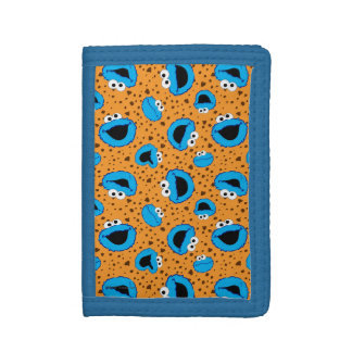 Cookie Monster on Cookie Pattern Tri-fold Wallet