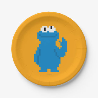 Cookie Monster Pixel Art 7 Inch Paper Plate