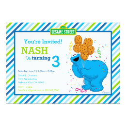 Cookie monster cards invitations zazzle cookie monster striped birthday card bookmarktalkfo Choice Image