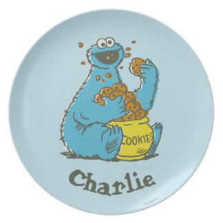 Cookie Monster Vintage | Add Your Name Dinner Plates