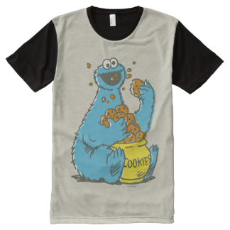 Cookie Monster Vintage All-Over Print T-Shirt