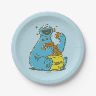 Cookie Monster Vintage 7 Inch Paper Plate
