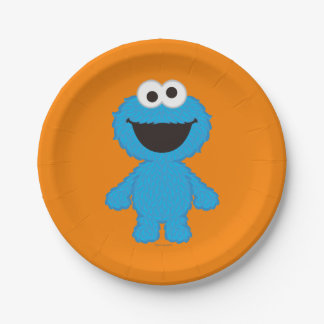 Cookie Monster Wool Style 7 Inch Paper Plate