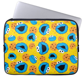 Cookie Monter and Cookies Pattern Laptop Sleeve