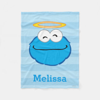 Cookie Smiling Face with Halo | Add Your Name Fleece Blanket