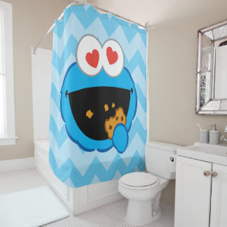 Cookie Smiling Face with Heart-Shaped Eyes Shower Curtain