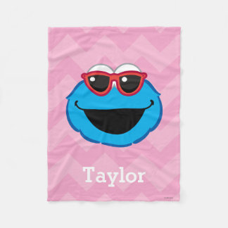Cookie  Smiling Face with Sunglasses | Your Name Fleece Blanket