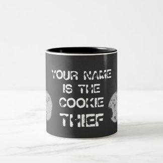 "Cookie Thief ""Your Name"" Two-Tone Coffee Mug"
