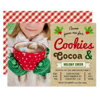Cookies and Cocoa | Hot Chocolate Christmas Party Card