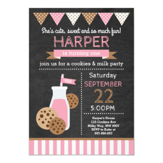 Cookies and Milk Birthday Invitation