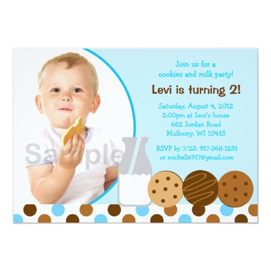 Cookies and Milk Blue Photo Birthday Invitations