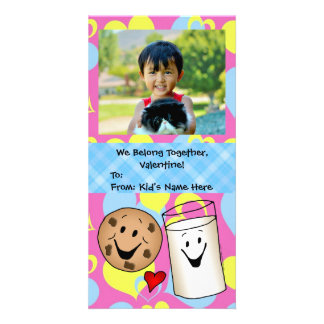 Cookies and Milk Together Cute Kids Valentine Photo Cards
