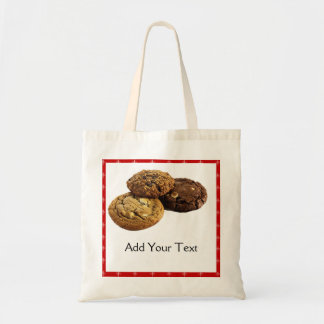 Cookies and Other Delicious Desserts on Red Budget Tote Bag