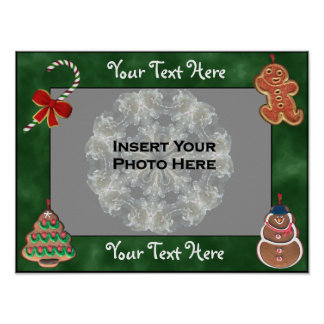 Cookies Candy Cane Holiday Frame Add Photo Poster