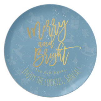 Cookies for Santa Blue Gold Merry & Bright Script Plates