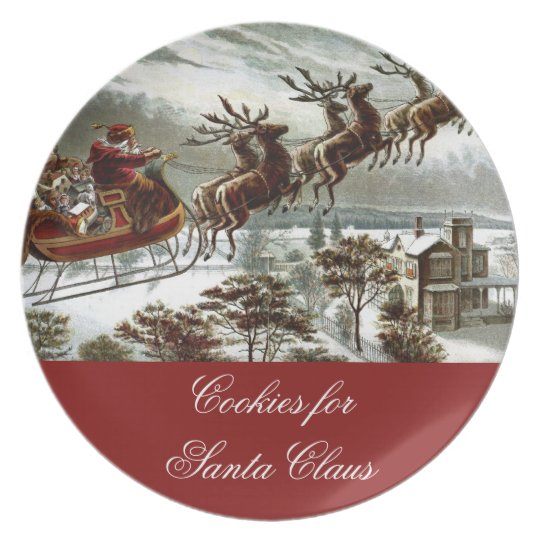 Cookies for Santa Claus Christmas Eve Reindeer Plate