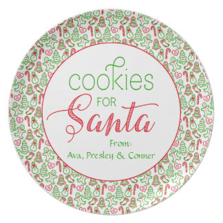 """Cookies for Santa"" Personalized Christmas Party Plates"