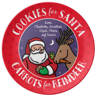 Cookies For Santa, Reindeer Carrots, Personalized Plate