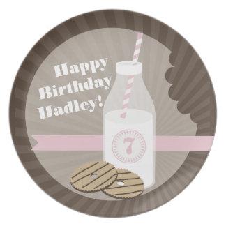 Cookies + Milk Birthday Plate Striped + Pink