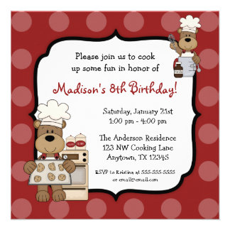 Cooking Bears Kids Birthday Party Custom Announcement