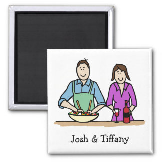 Cooking couple magnet - customizable