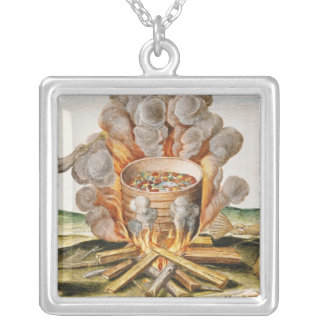 Cooking Food in a Terracotta Pot Silver Plated Necklace